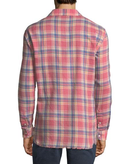 Frayed Flannel Long-Sleeve Shirt, Dark Pink