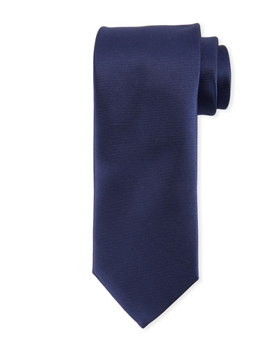 Solid Repp-Striped Silk Tie