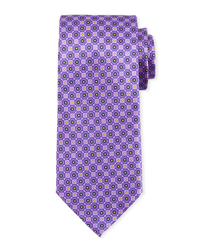 Connected Medallions Silk Tie, Purple