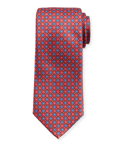 Connected-Medallions Silk Tie, Red
