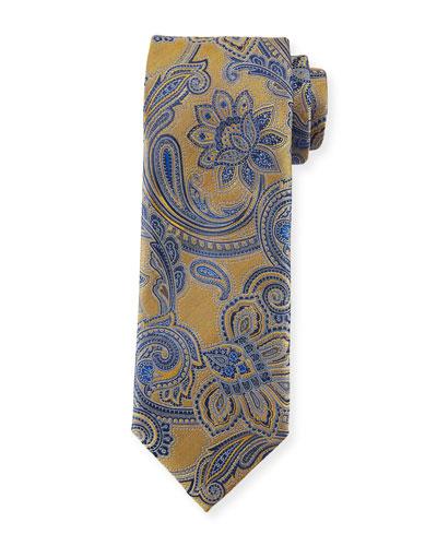 Woven Paisley Silk Tie, Yellow