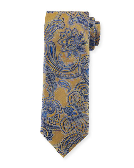 Canali Woven Paisley Silk Tie, Yellow