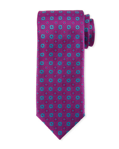 Alternating Flowers Silk Tie