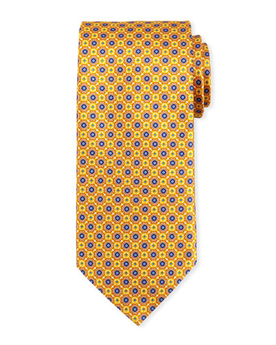 Connected Medallions Silk Tie, Yellow