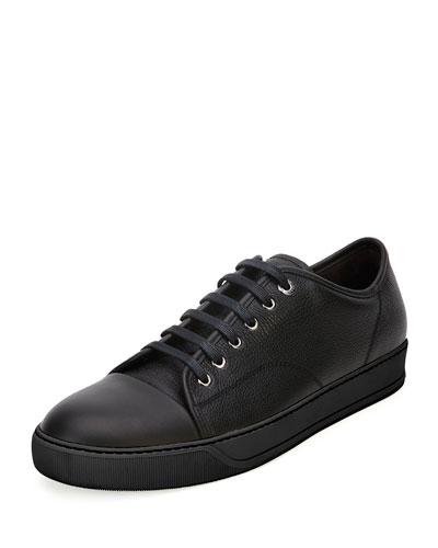 Grainy Leather Low-Top Sneaker, Black