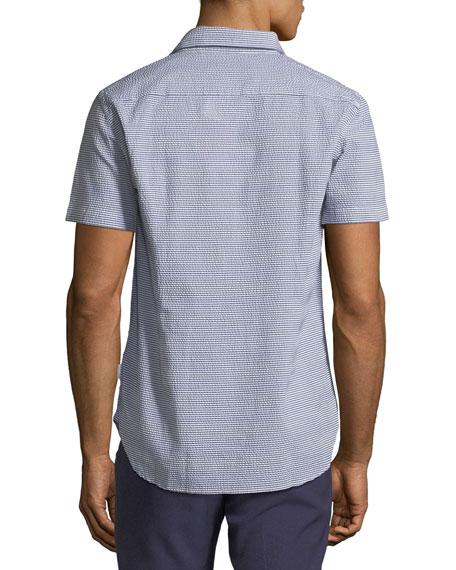 Morton Striped Seersucker Short-Sleeve Sport Shirt, Navy