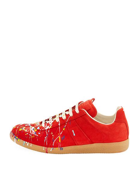8f37cdfe4365f Maison Margiela Men s Replica Paint-Splatter Suede Low-Top Sneakers
