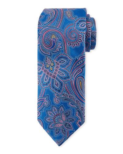 Woven Paisley Silk Tie, Blue