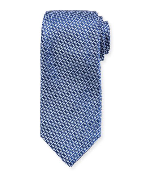Canali Lattice Silk Tie, Blue