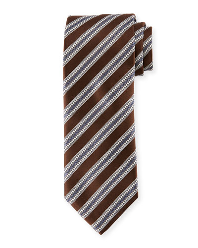 Textured Stripe Silk Tie, Brown