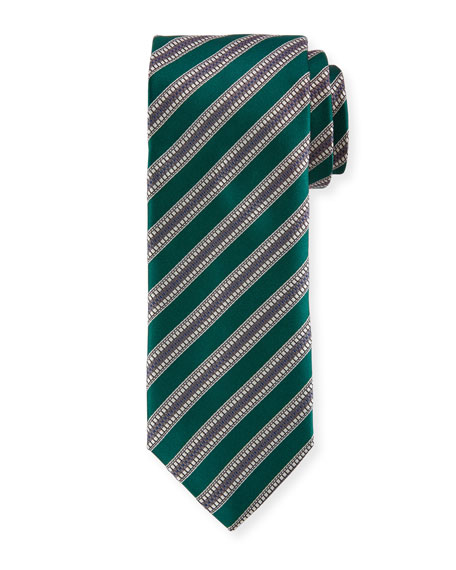 Textured Stripe Silk Tie