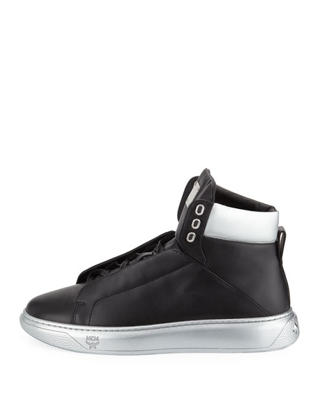 5d686e0253d MCM Men's Visetos-Trim Leather High-Top Sneakers