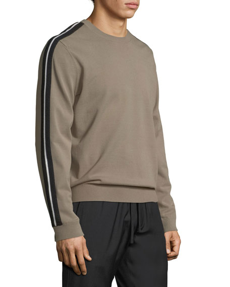 Track Striped Crewneck Sweater