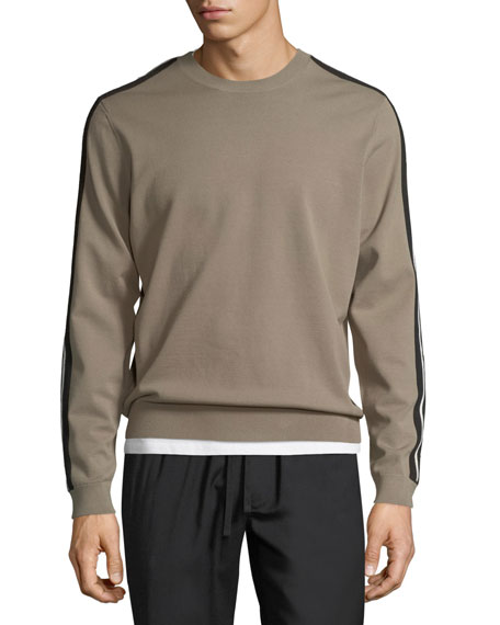 Track Striped Crewneck Sweater
