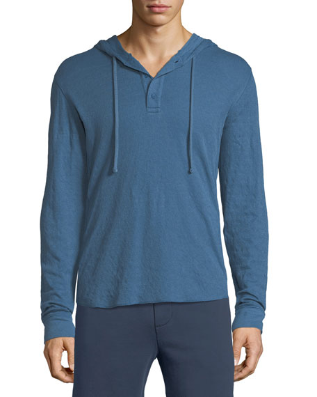 Double-Knit Hooded Henley T-Shirt