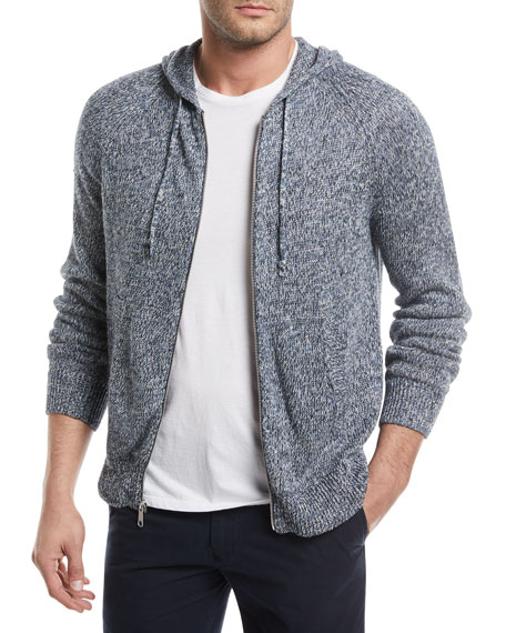 Marled-Knit Linen Front-Zip Hoodie