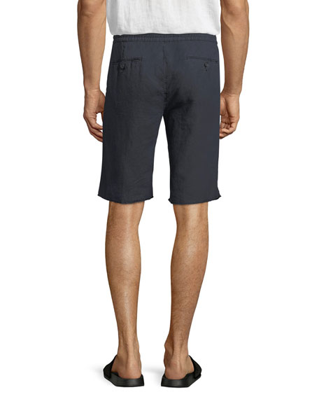 Hemp Raw-Hem Track Shorts