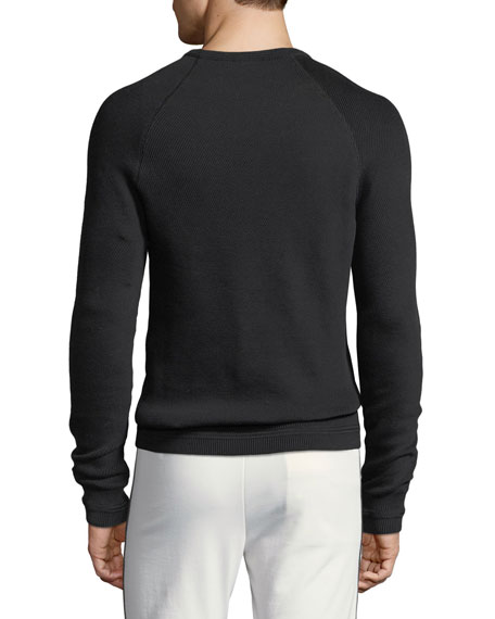 Diagonal-Stitch Crewneck Sweater