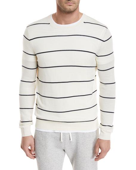 Textured Stripe Crewneck Sweater
