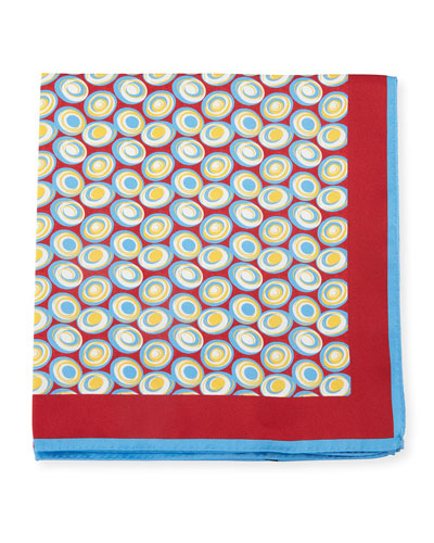 Swirl Circles Silk Pocket Square