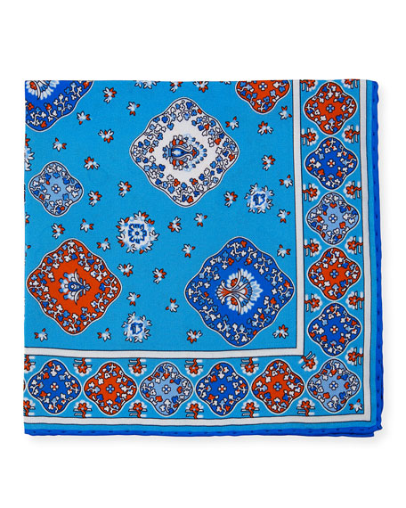 Kiton Moroccan Silk Pocket Square, Light Blue
