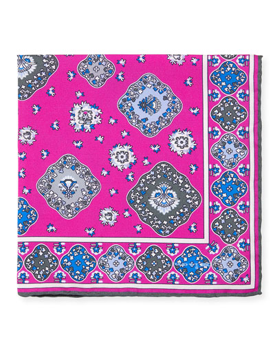 Moroccan Silk Pocket Square, Pink