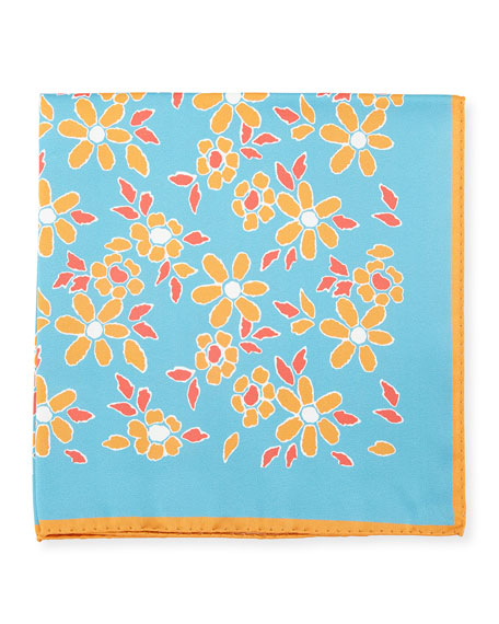 Kiton Floral-Print Silk Pocket Square, Aqua Blue