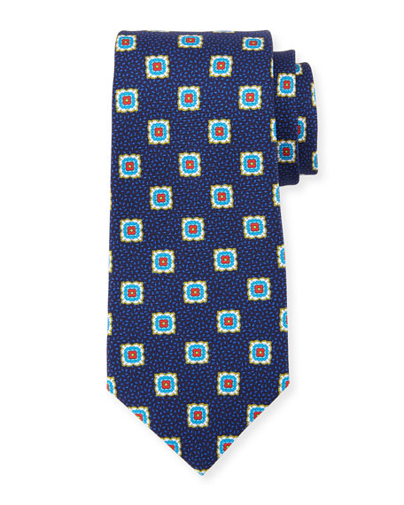 Kiton Fancy Medallion Silk Tie, Navy