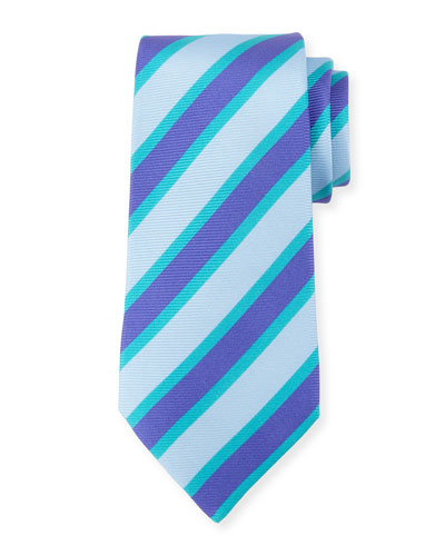 Tricolor Striped Silk Tie