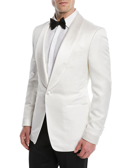 Satin-Lapel Honeycomb-Weave Dinner Jacket