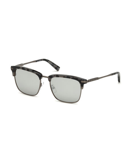 Half-Rim Acetate/Metal Sunglasses, Gray/Brown