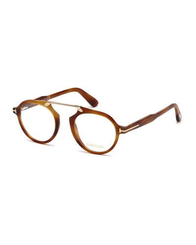 Round Acetate Optical Bridgeless Glasses, Brown