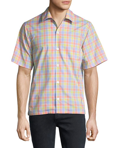 Multicolor Check Short-Sleeve Bowling Shirt