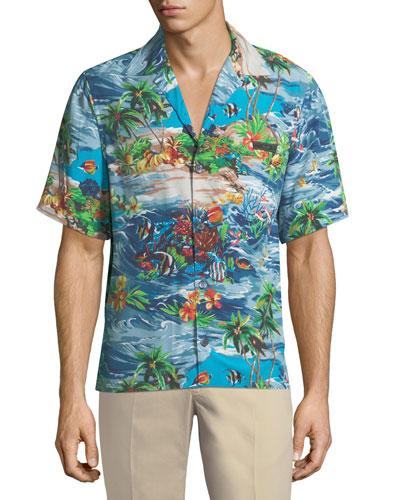 Island Fish Print Bowling Shirt