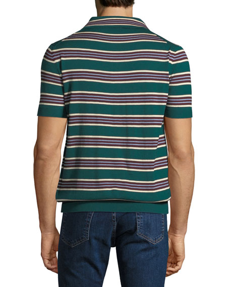 Striped Silk-Blend Polo Sweater