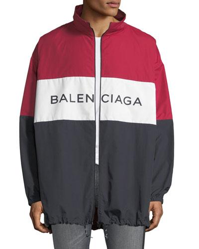 Men's Colorblock Poplin Zip-Front Shirt Jacket