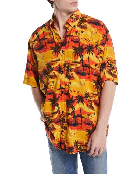 a4f31ae56bb9 Balenciaga Oversized Viscose Hawaiian Shirt