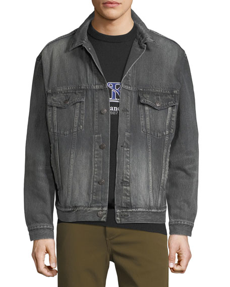 59bd6f0e3 Washed Black Denim Jacket with Back Logo