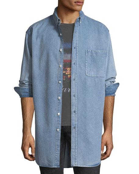 Oversized Back-Logo Denim Shirt