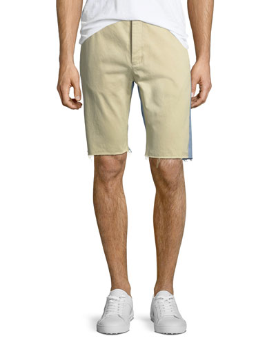 Chino Denim Raw-Edge Shorts