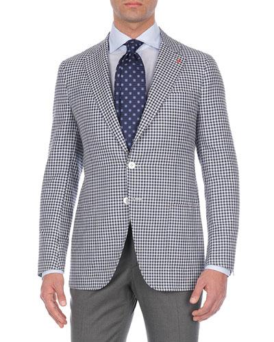 Check Silk/Cashmere/Linen Two-Button Blazer