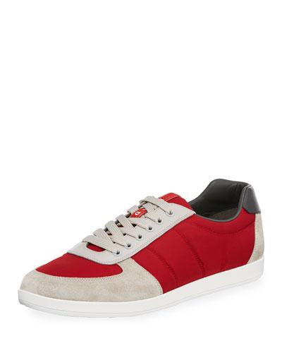 Men's Nylon & Suede Low-Top Sneaker