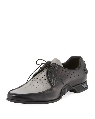Two-Tone Spazzolato Lace-Up Loafer