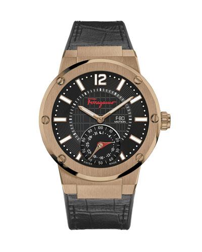 Men's 44mm F-80 Motion Leather Smartwatch  Black
