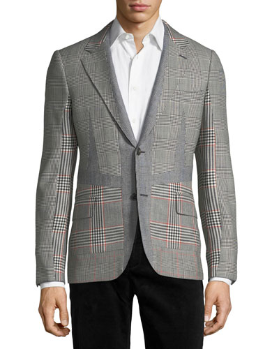 Wool Check-Panel Two-Button Blazer