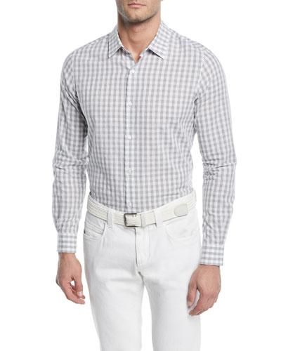 Arthur Pale Check Linen-Blend Sport Shirt