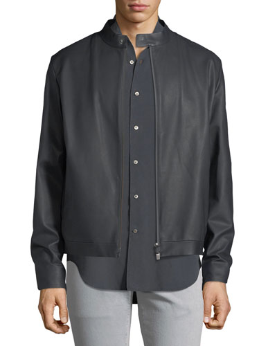 Lightweight Leather Bomber Jacket
