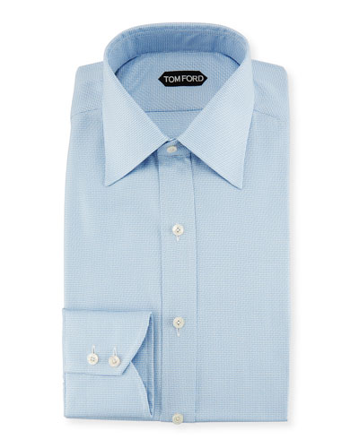 Micro Check Cotton Jacquard Dress Shirt