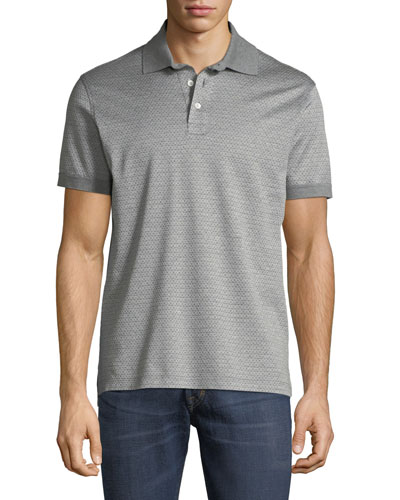 Men's Cotton Gancini-Jacquard Polo Shirt