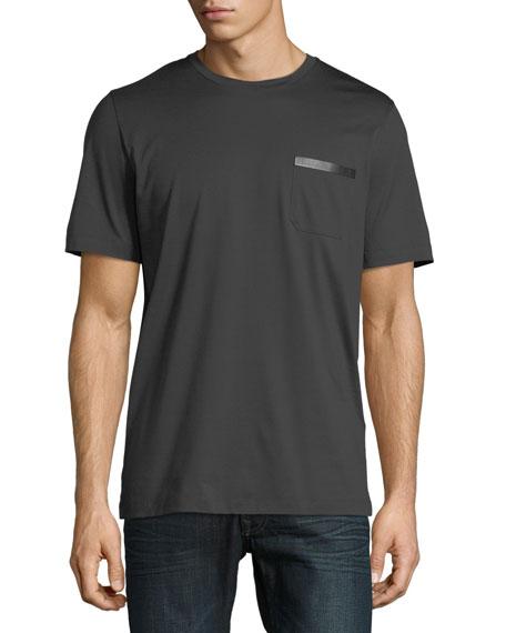 Salvatore Ferragamo Men's Sateen-Finish Pocket T-Shirt w/ Leather
